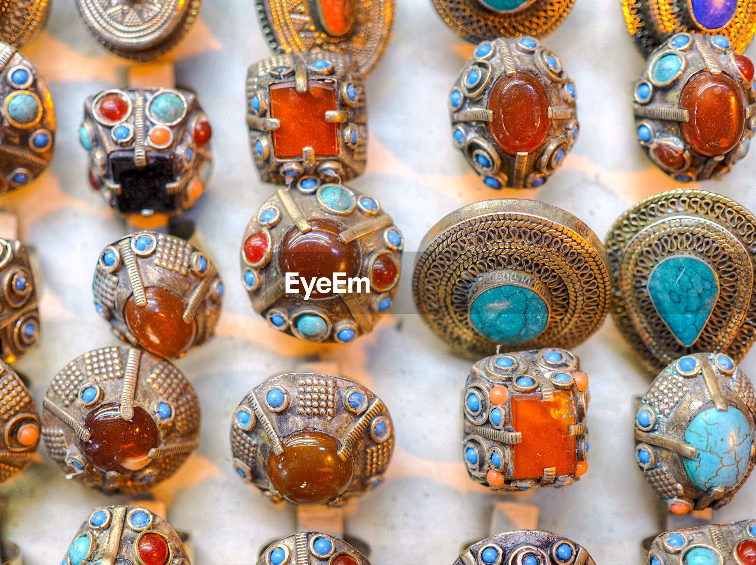 Close-up of jewelry for sale at store
