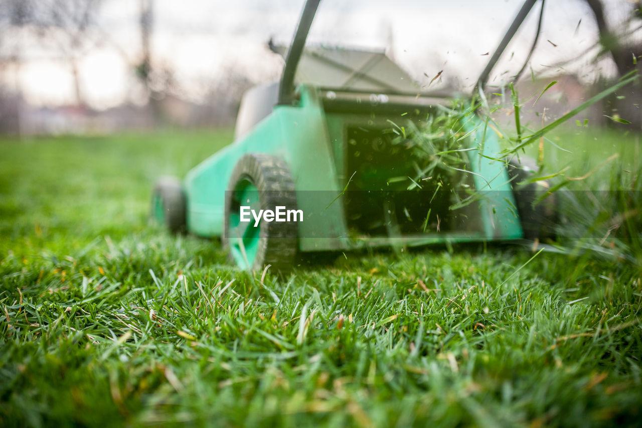 Lawnmower in lawn