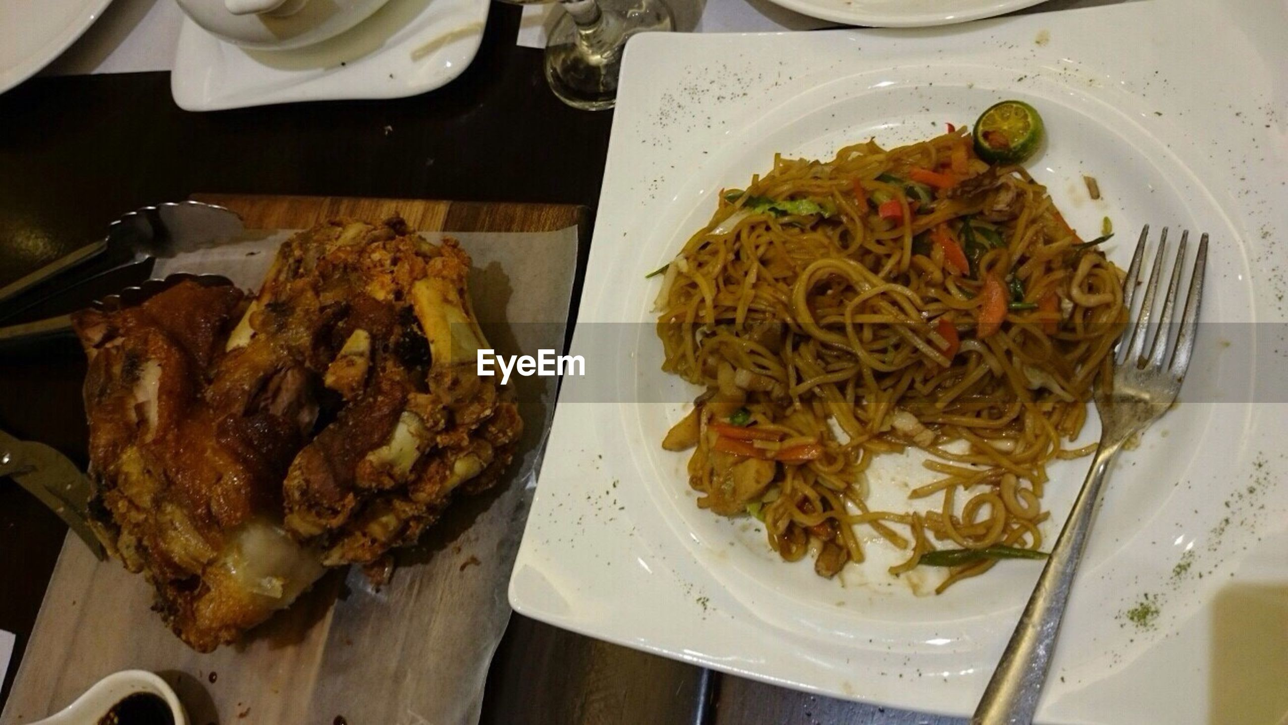 food and drink, food, freshness, indoors, ready-to-eat, meat, meal, plate, still life, healthy eating, seafood, serving size, grilled, high angle view, close-up, cooked, fish, indulgence, table, chicken meat