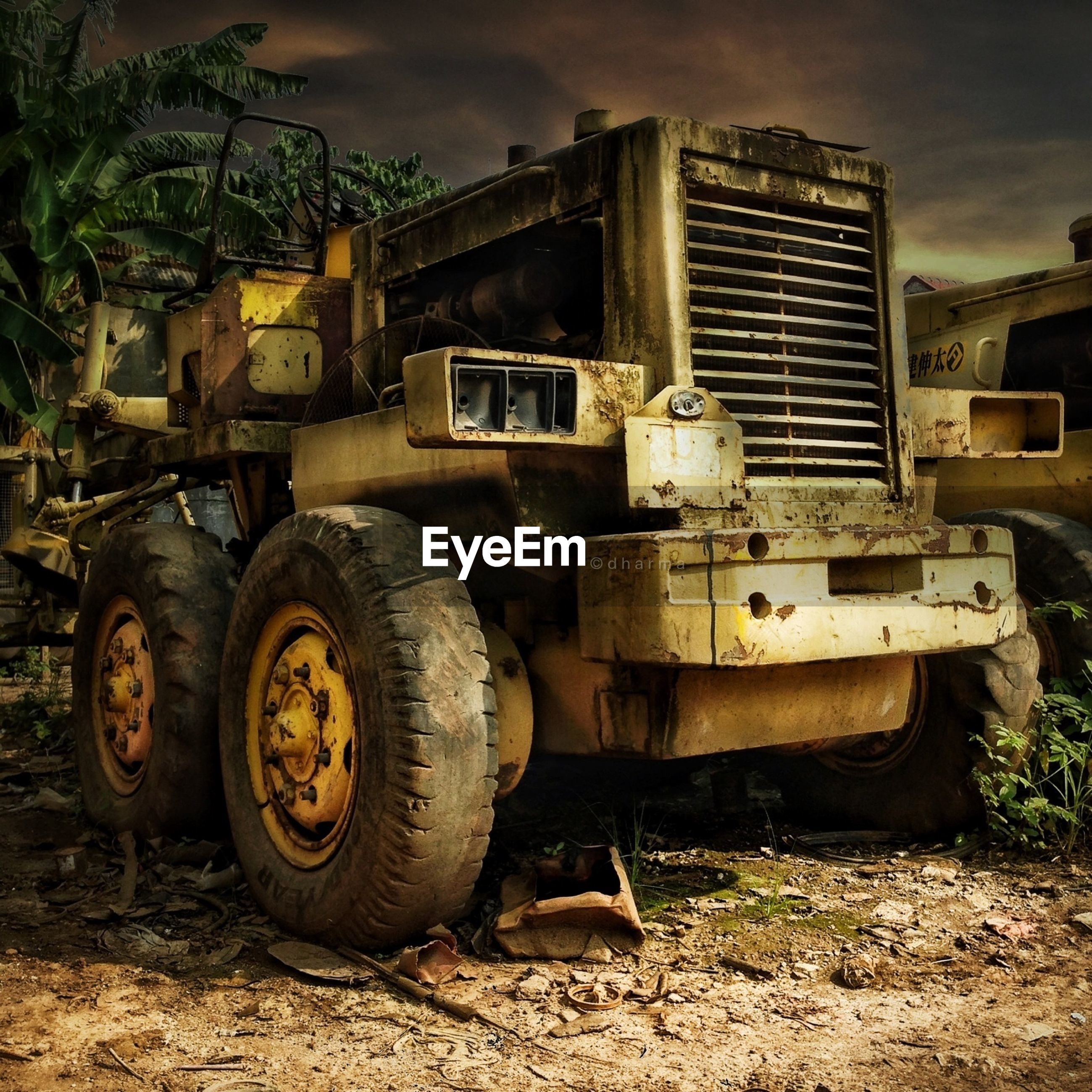abandoned, obsolete, run-down, damaged, deterioration, old, rusty, field, transportation, land vehicle, bad condition, mode of transport, destruction, old-fashioned, ruined, building exterior, sky, outdoors, built structure, machinery