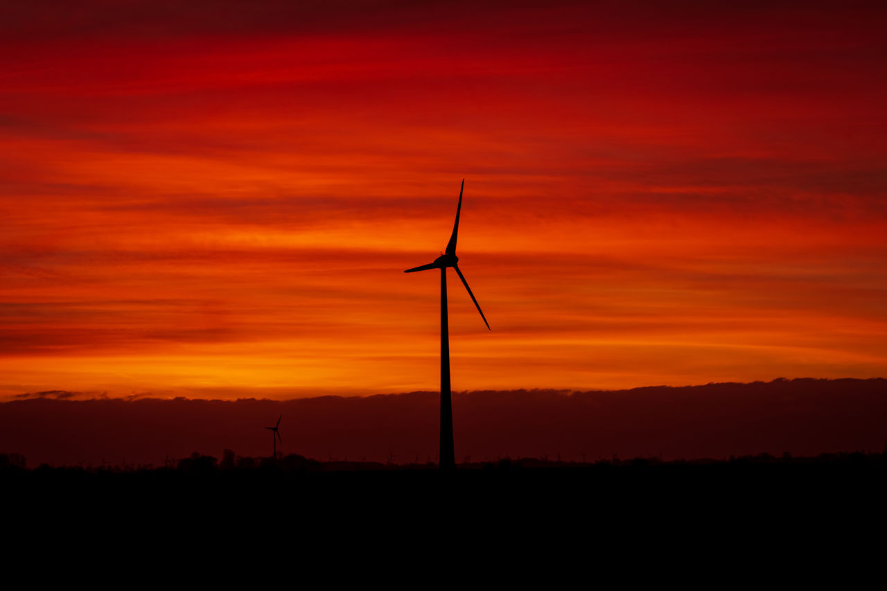 sunset, silhouette, orange color, sky, environmental conservation, fuel and power generation, renewable energy, wind turbine, environment, alternative energy, turbine, wind power, scenics - nature, beauty in nature, landscape, no people, tranquil scene, cloud - sky, nature, non-urban scene, sustainable resources, romantic sky, power supply