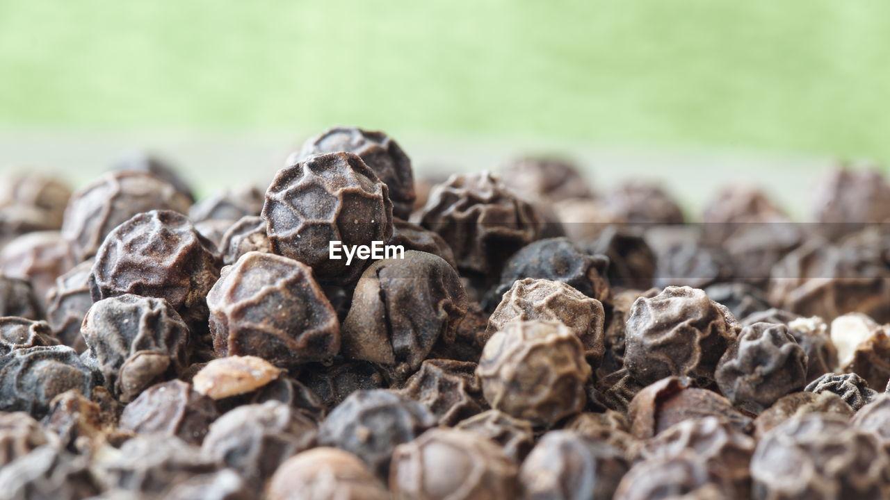 Close-up of black peppercorns