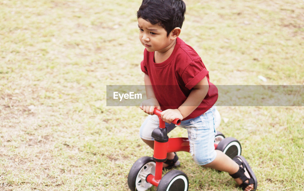 child, childhood, boys, males, bicycle, men, offspring, casual clothing, one person, riding, ride, grass, transportation, nature, day, leisure activity, sport, plant, land, cycling, innocence