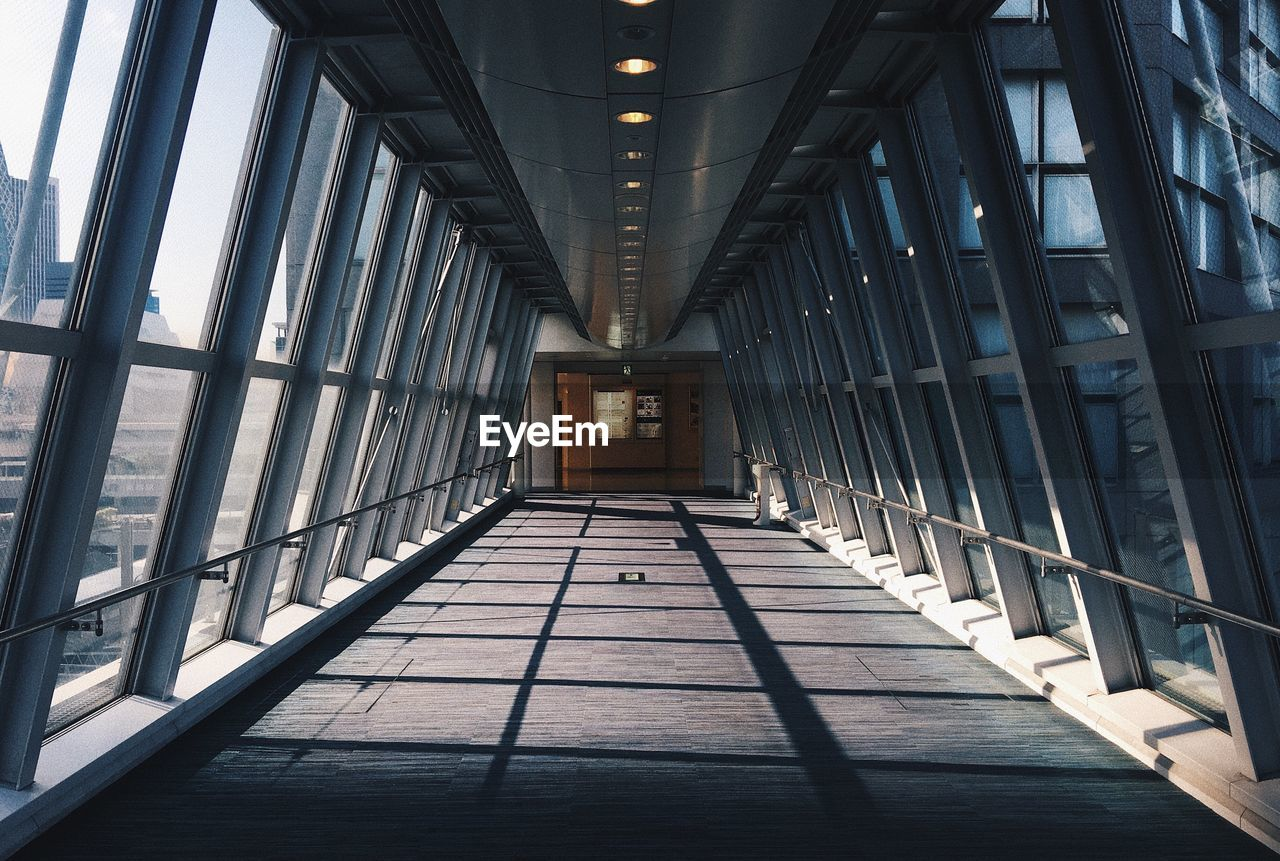 Empty Elevated Walkway In Building
