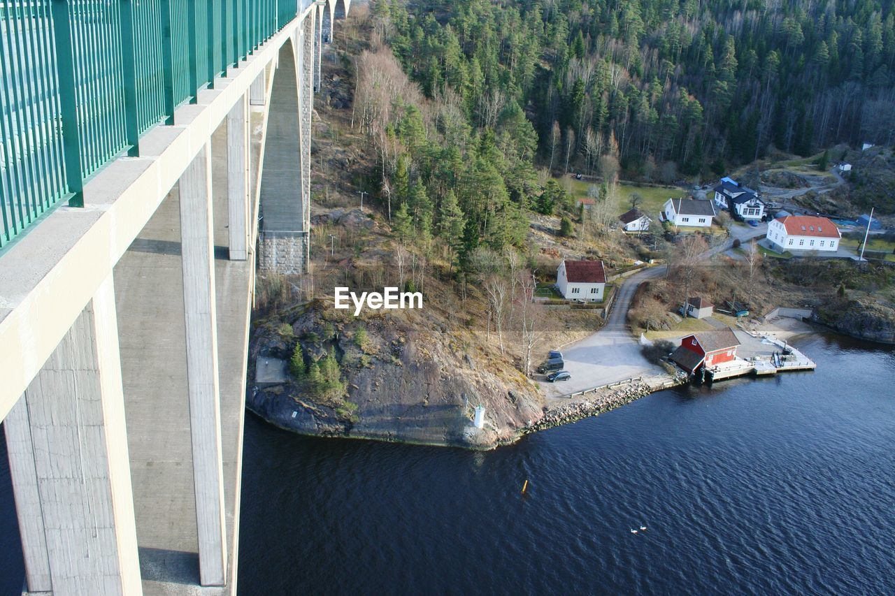 architecture, built structure, water, high angle view, day, transportation, nature, bridge, tree, building exterior, plant, bridge - man made structure, connection, river, no people, mode of transportation, outdoors, building, mountain