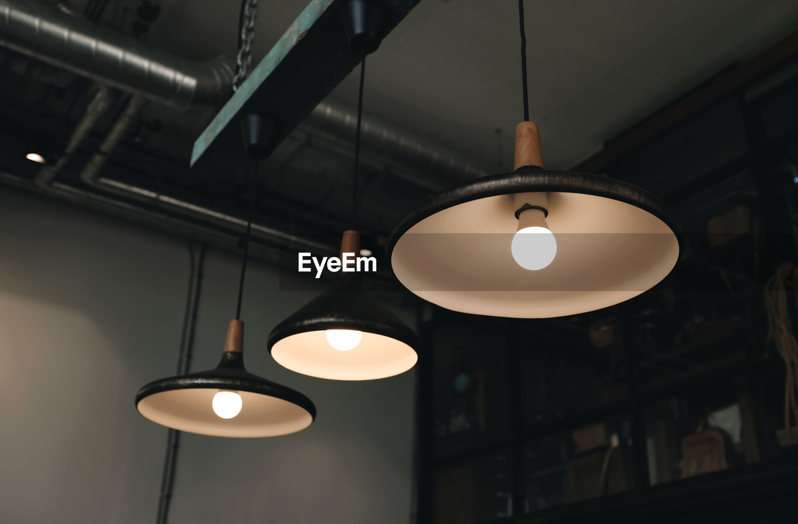 Hanging decorative lamps in coffee shops