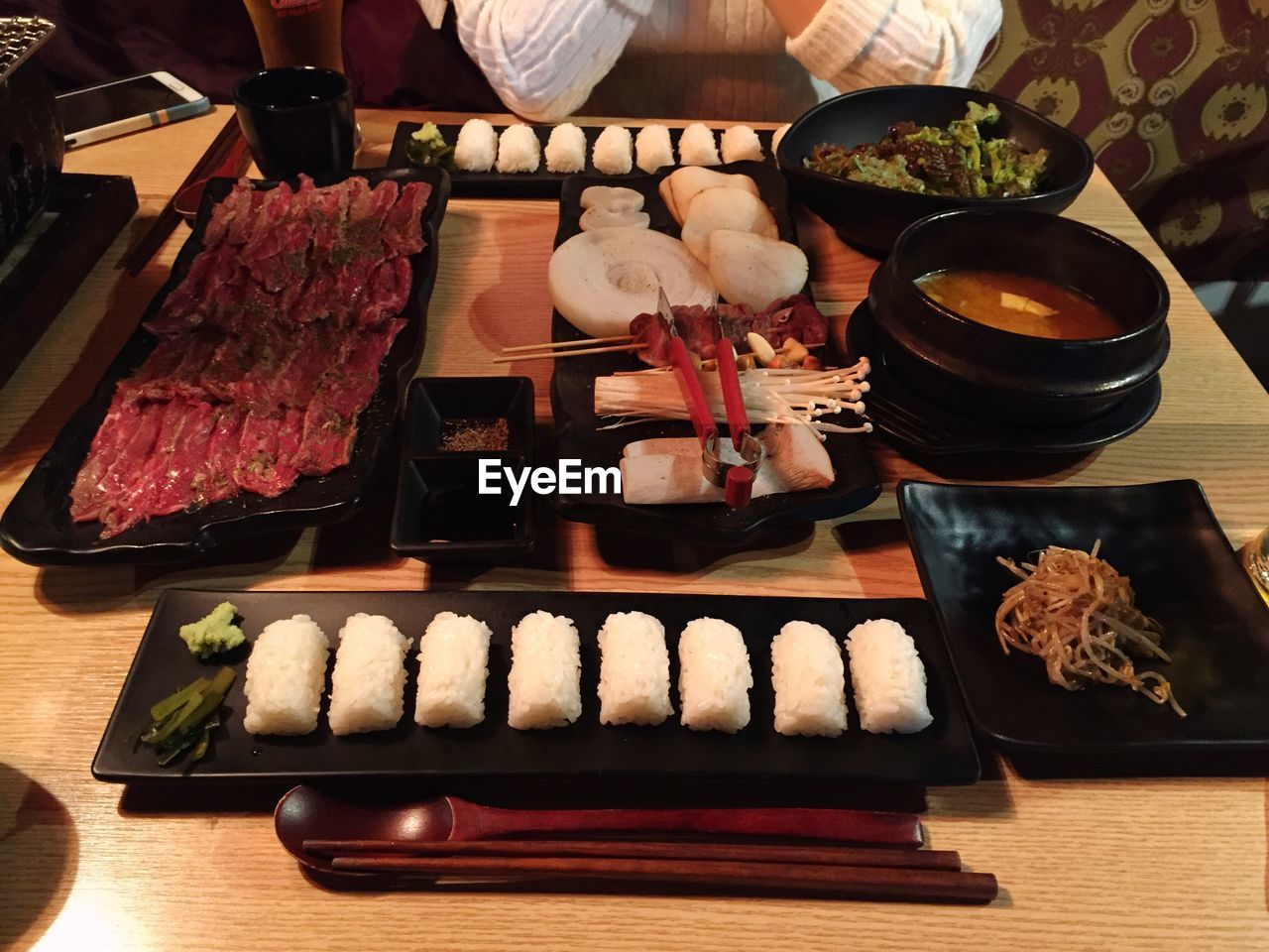 High angle view of beef served in plate on table