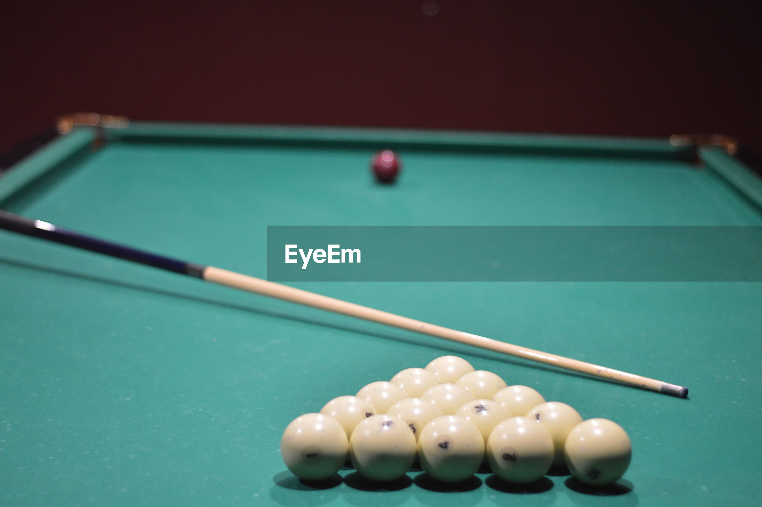 High angle view of balls billiard on table