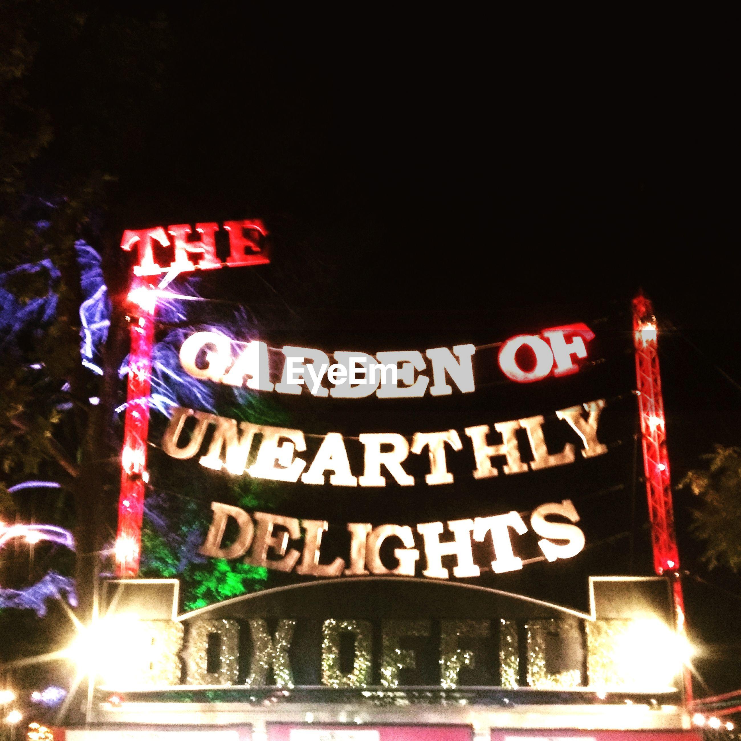 illuminated, night, text, neon, communication, no people, outdoors, city, nightlife