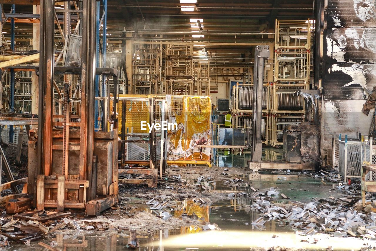 industry, architecture, indoors, factory, no people, destruction, day, metal, built structure, construction industry, nature, domestic room, building, abandoned, water, machinery, absence, business, ruined, place, collapsing