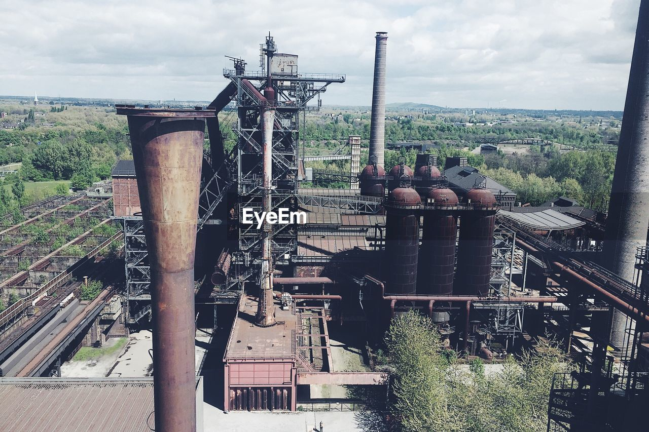 High angle view of factory against sky