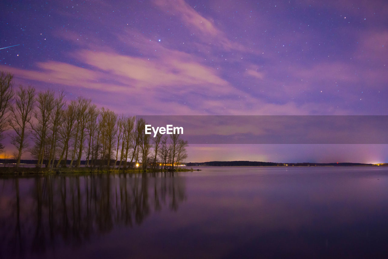 sky, scenics - nature, water, reflection, beauty in nature, tranquility, lake, waterfront, tranquil scene, cloud - sky, night, no people, nature, idyllic, tree, sunset, purple, space, star - space, astronomy, outdoors