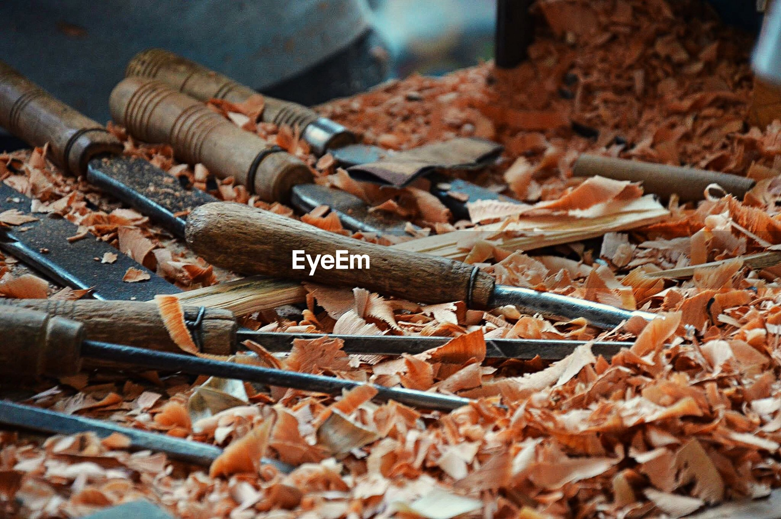 High angle view of wood shavings and tools