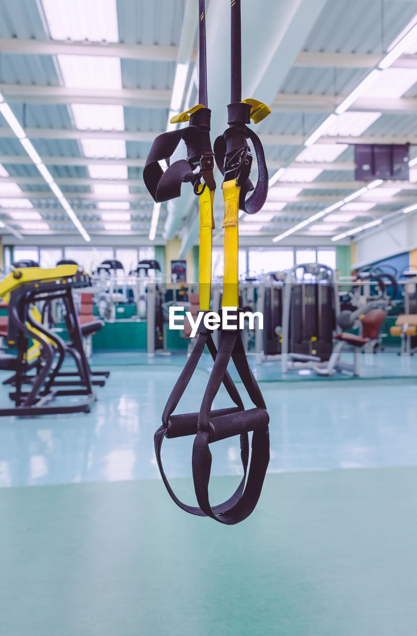 Close-up of equipment hanging in gym