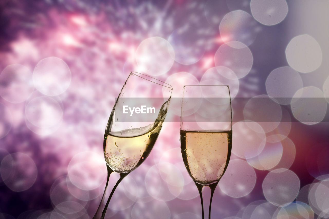 glass, drink, refreshment, alcohol, food and drink, drinking glass, lens flare, no people, close-up, wine, household equipment, freshness, nature, transparent, glass - material, focus on foreground, champagne, illuminated, wineglass, purple