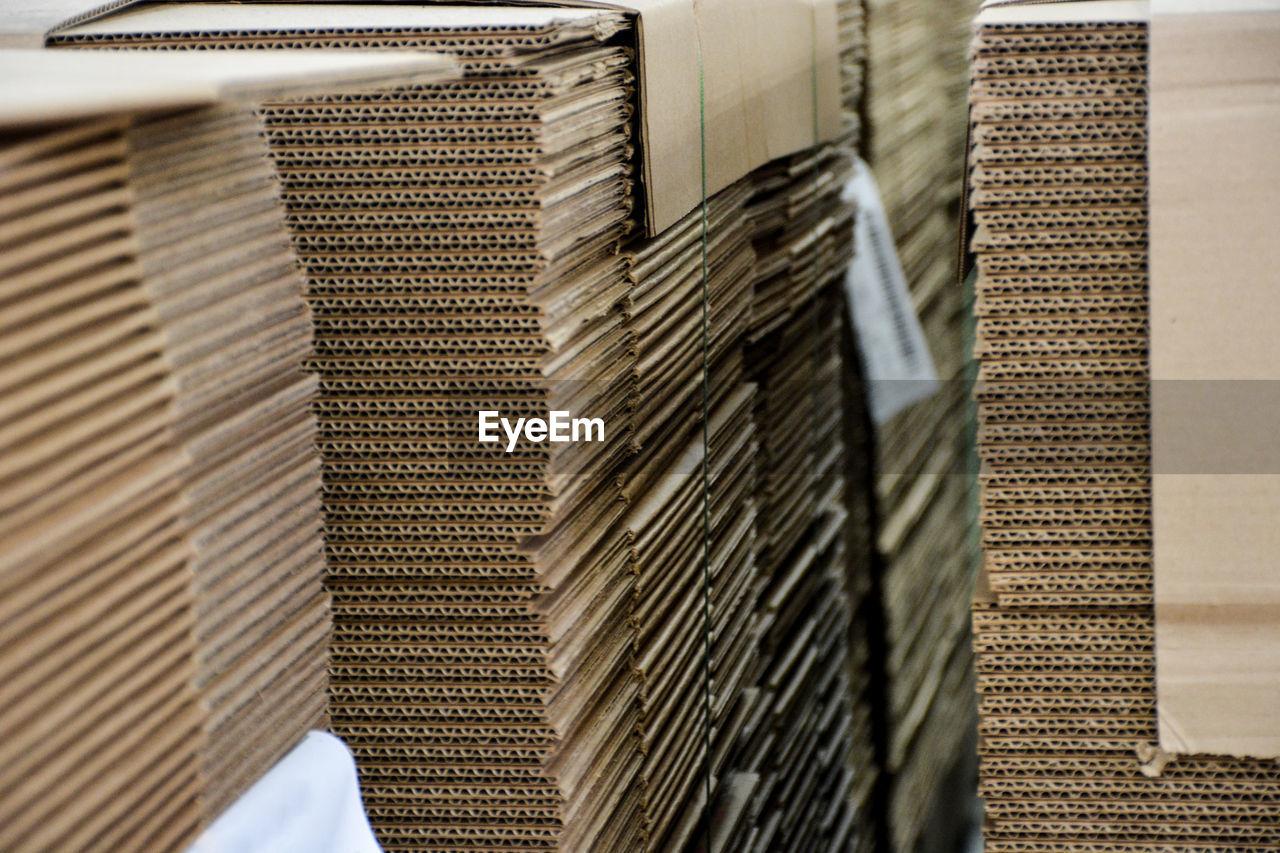 Full Frame Shot Of Cardboards In Factory