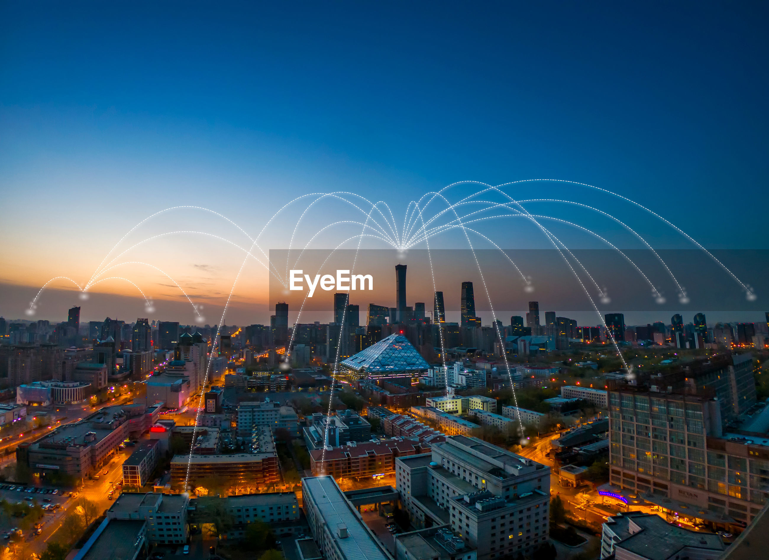 Digital composite image of buildings with connecting dots in city