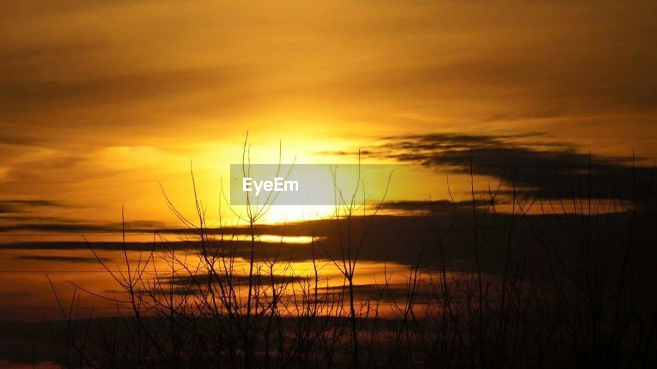 sunset, tranquil scene, nature, tranquility, beauty in nature, scenics, orange color, sky, reflection, outdoors, water, sea, no people, silhouette, cloud - sky, travel destinations, grass, horizon over water, marram grass, day