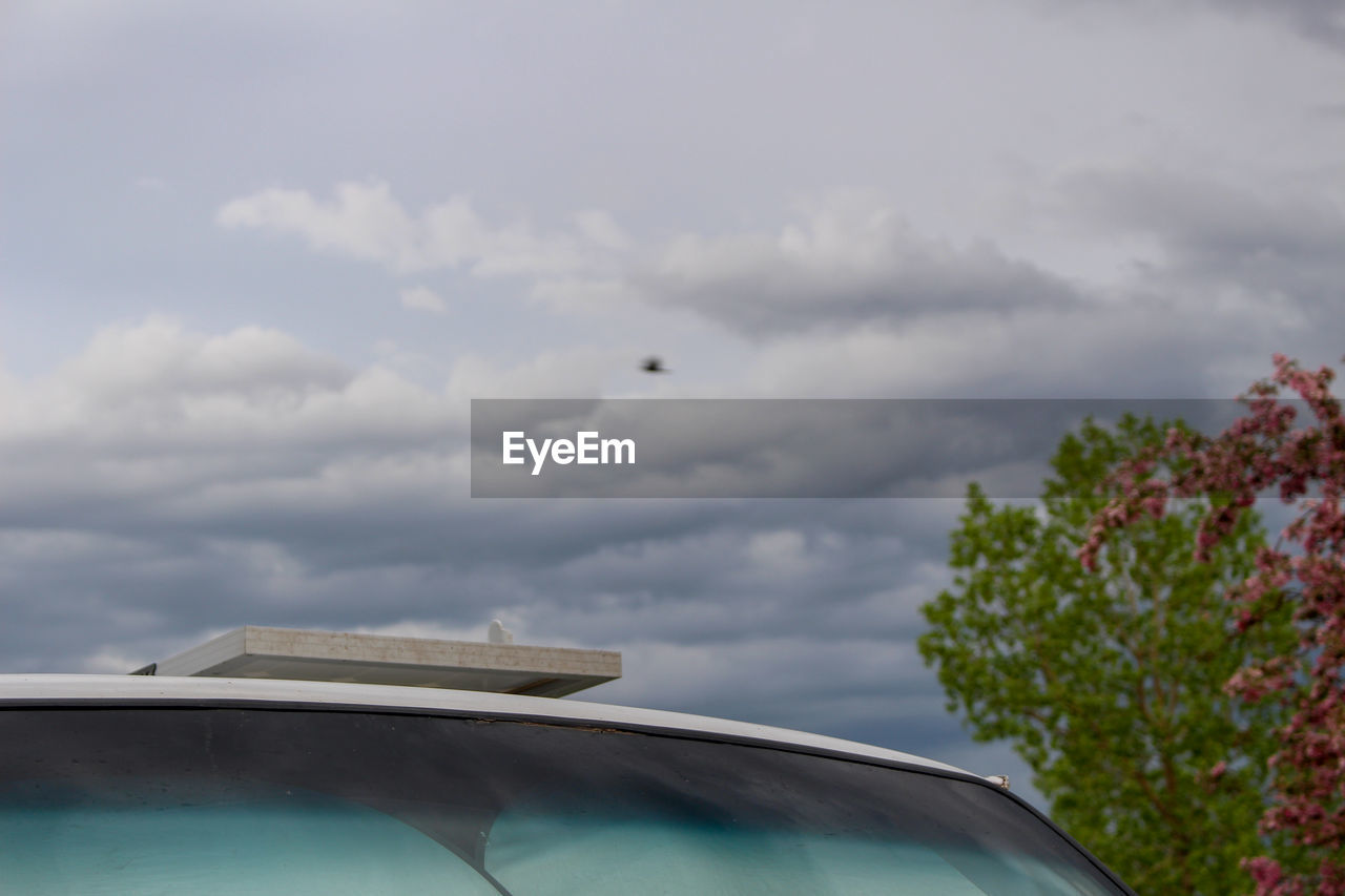 cloud - sky, sky, mode of transportation, car, transportation, motor vehicle, nature, day, no people, flying, air vehicle, airplane, land vehicle, outdoors, glass - material, plant, tree, animal themes, bird, low angle view