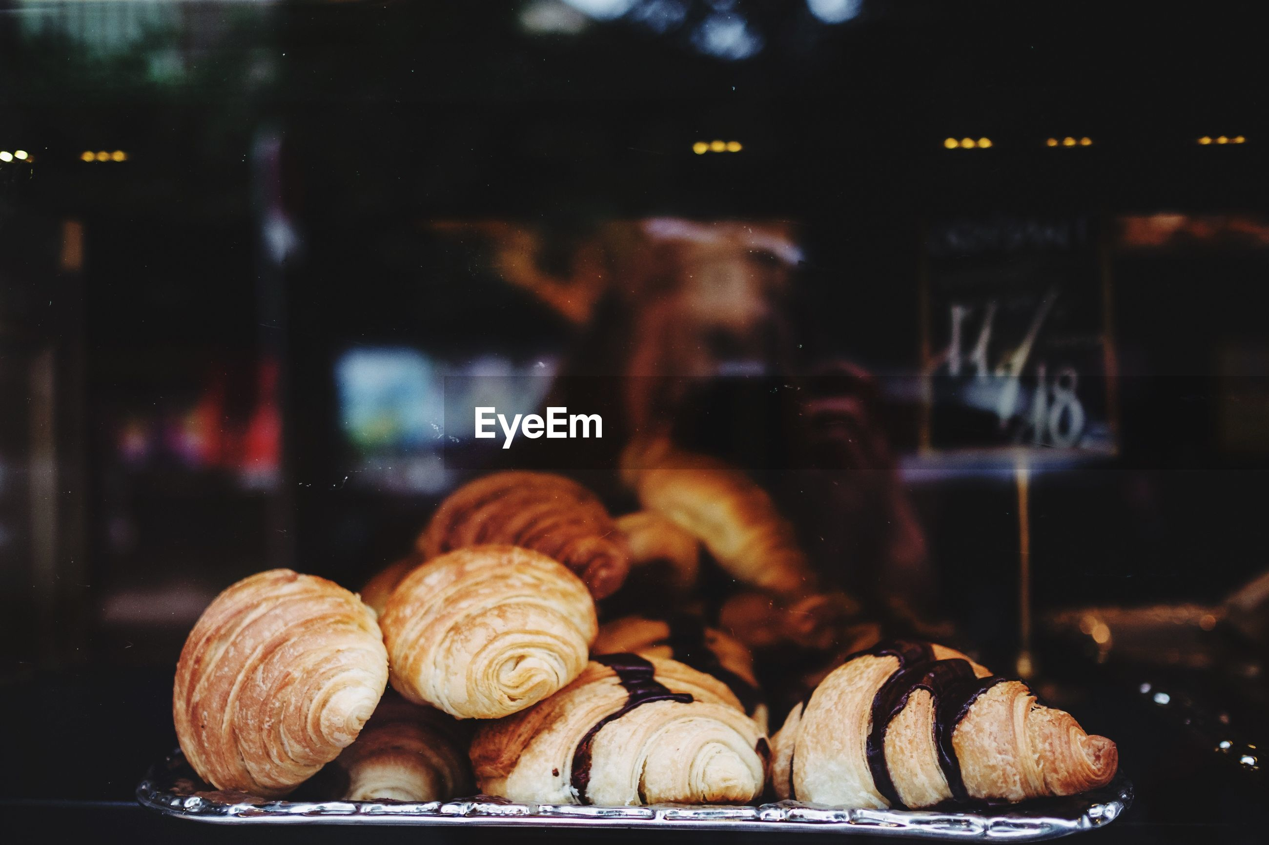 Close-up of croissants for sale