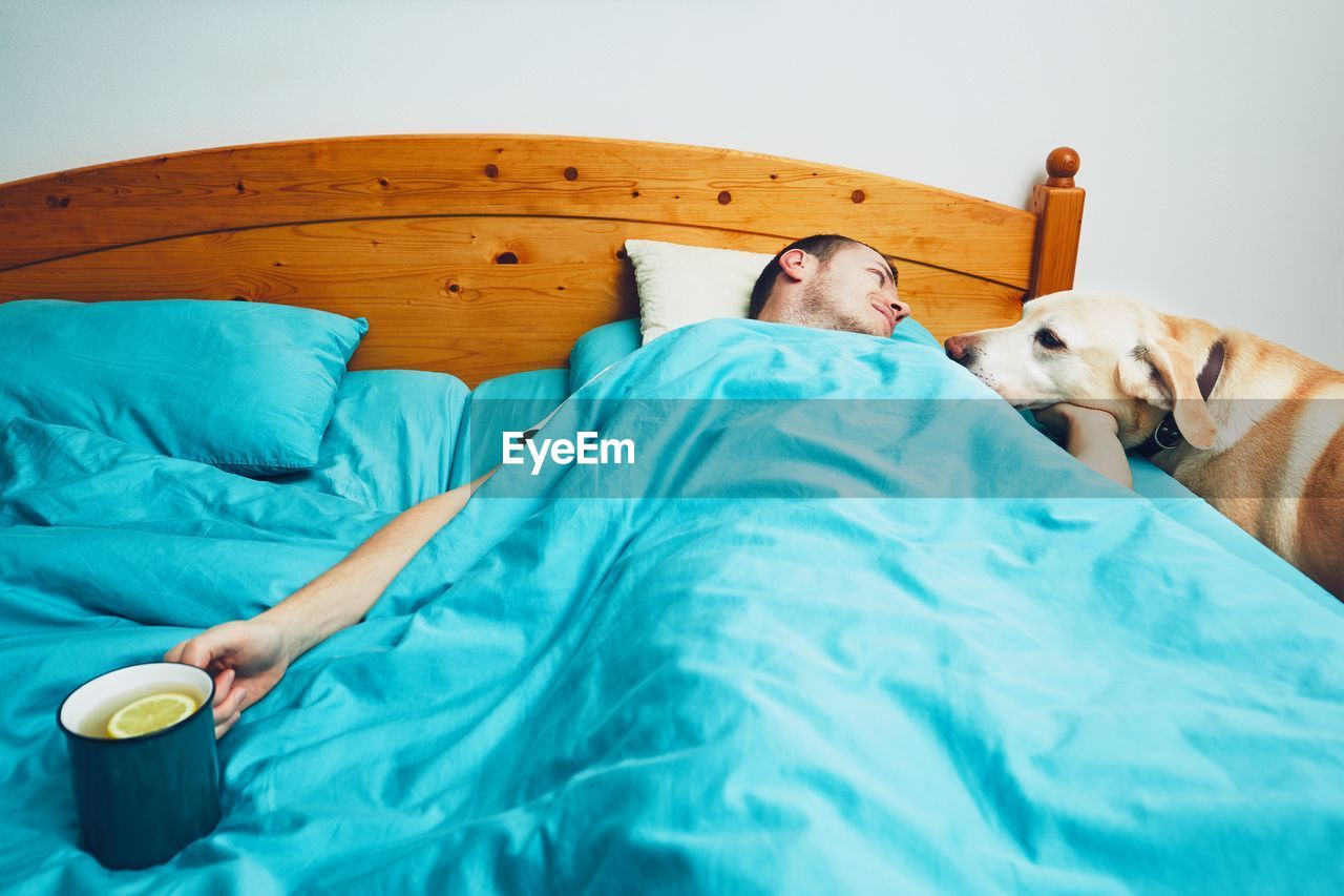 High Angle View Of Mid Adult Man Petting Dog While Lying On Bed At Home