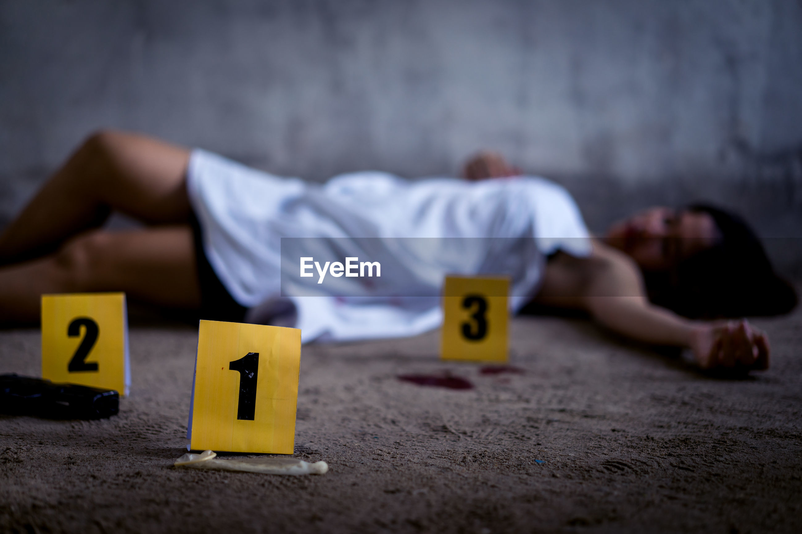 Dead woman lying down by numbers