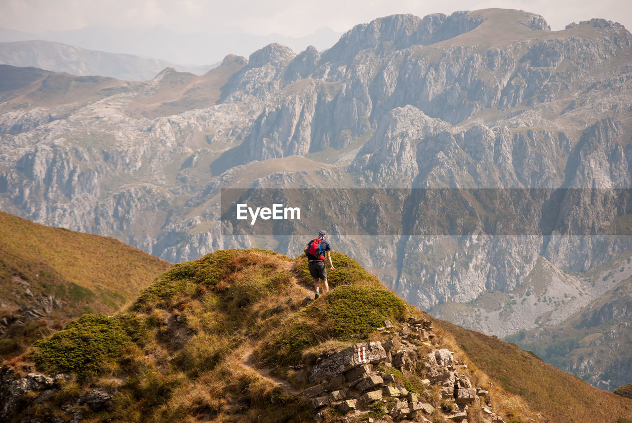 Rear view of man walking on mountains