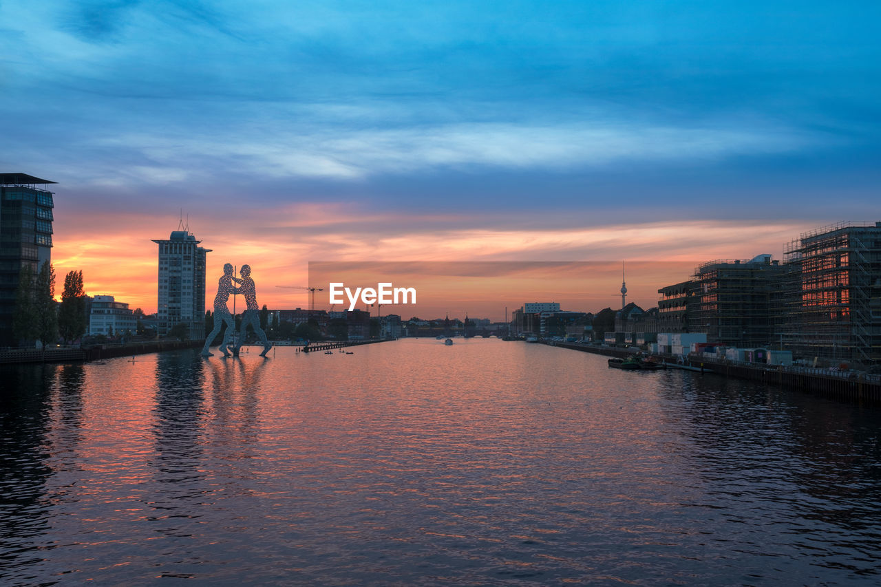 Scenic View Of Spree River By Buildings Against Sky During Sunset
