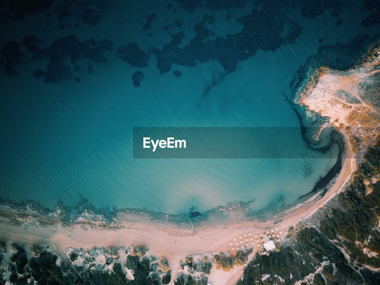 High angle view of sea shore during winter