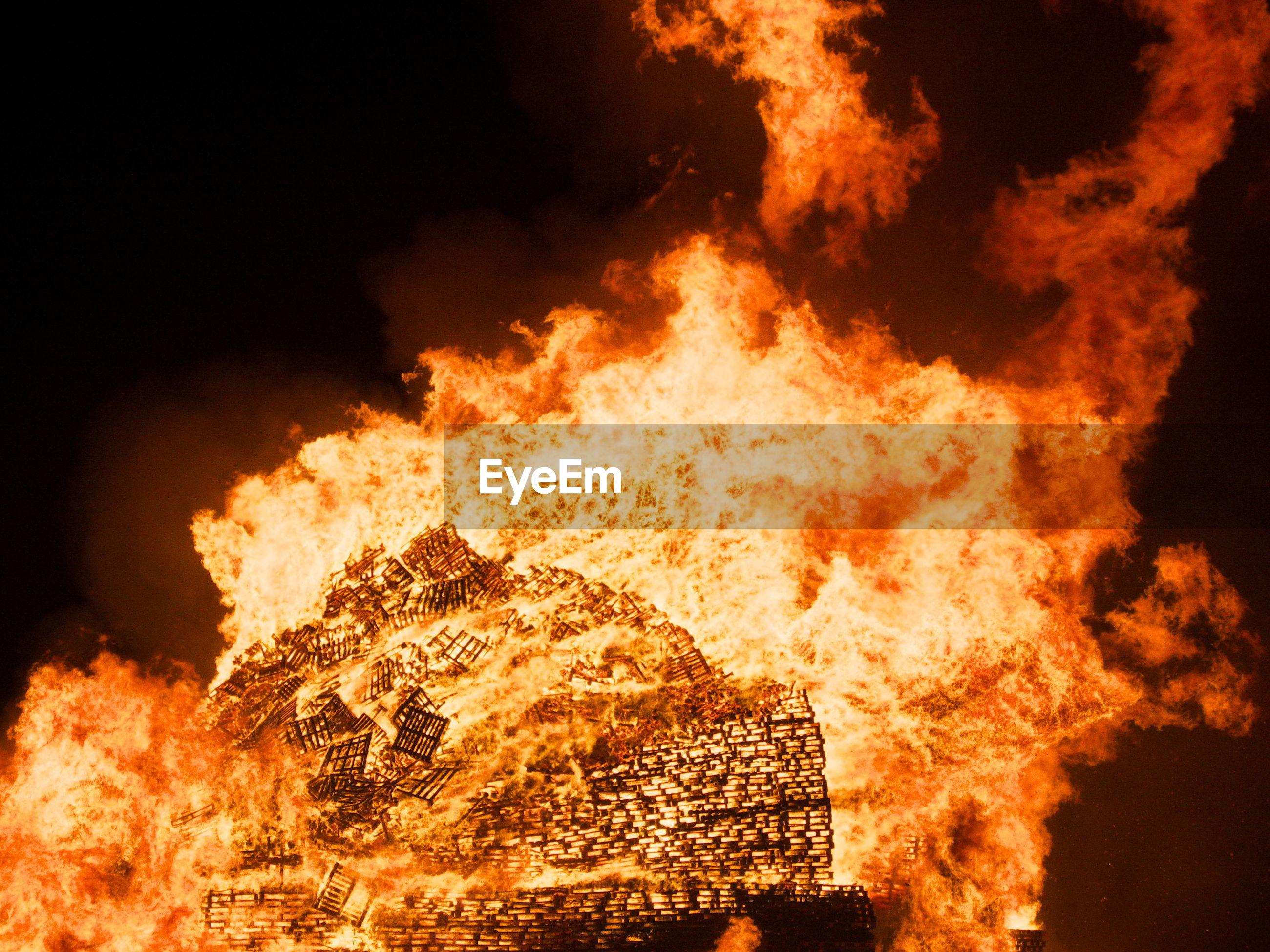 Bonfire burning at night