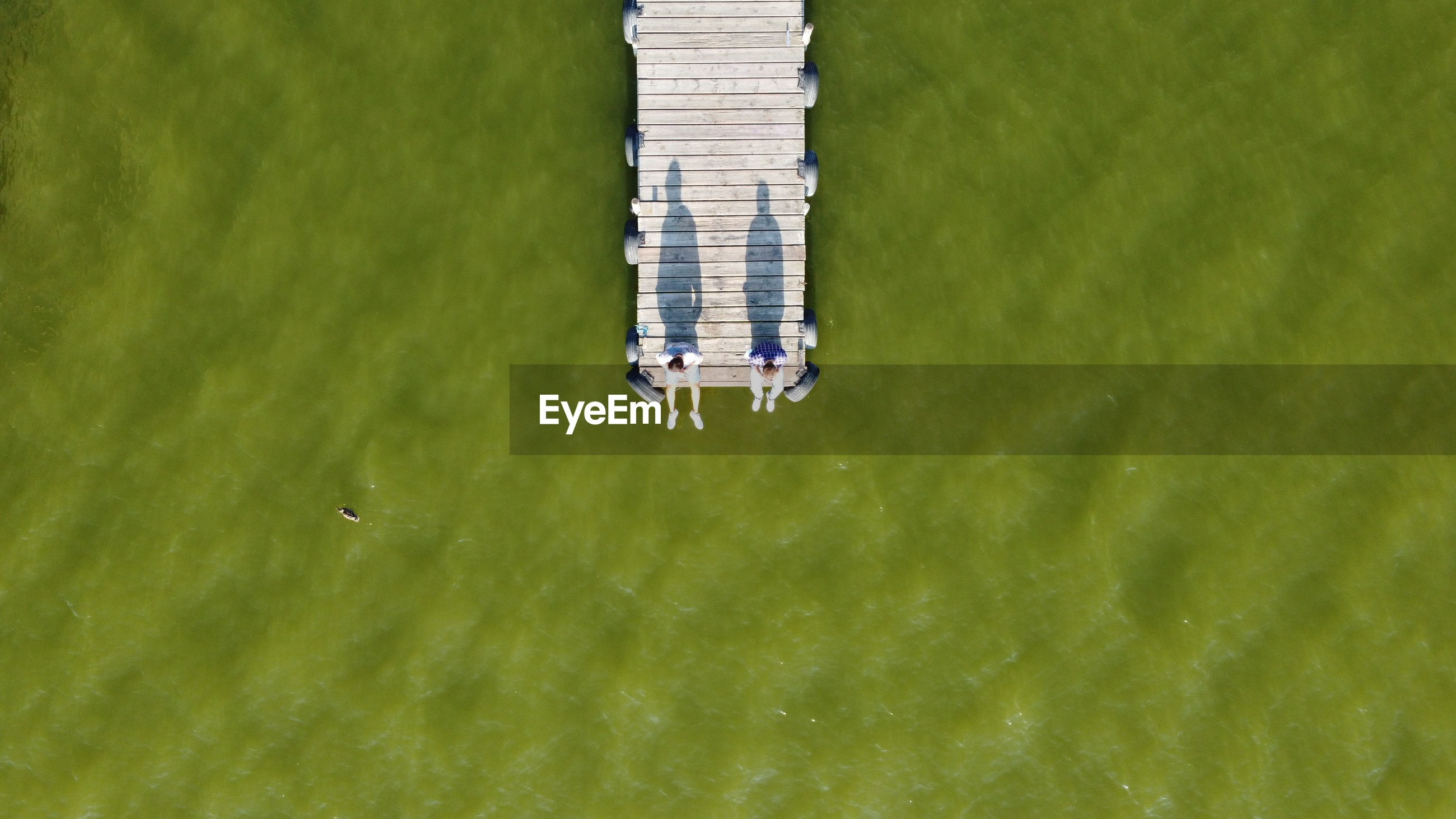 High angle view of pier on sea shore