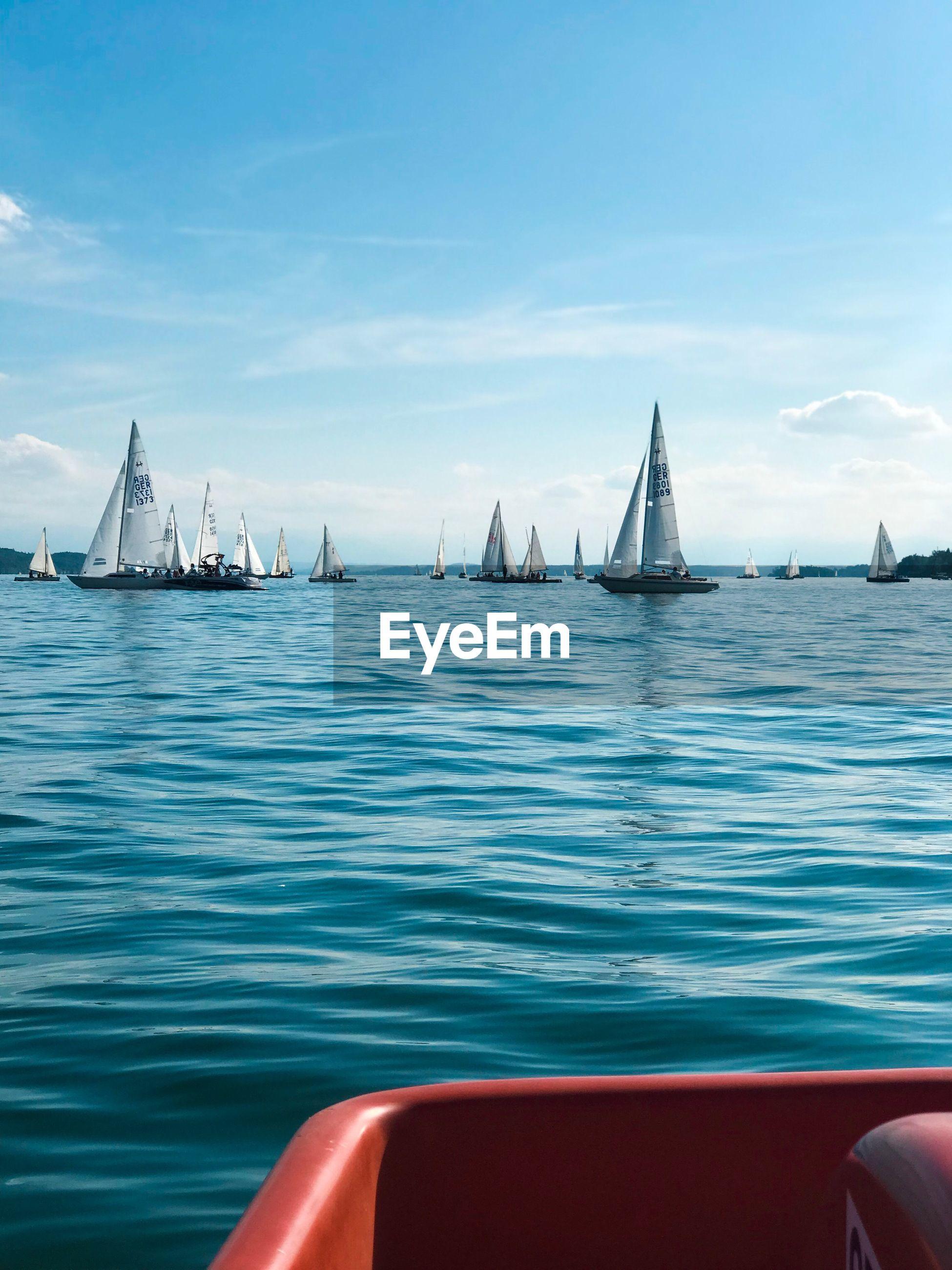 Sailboats on sea