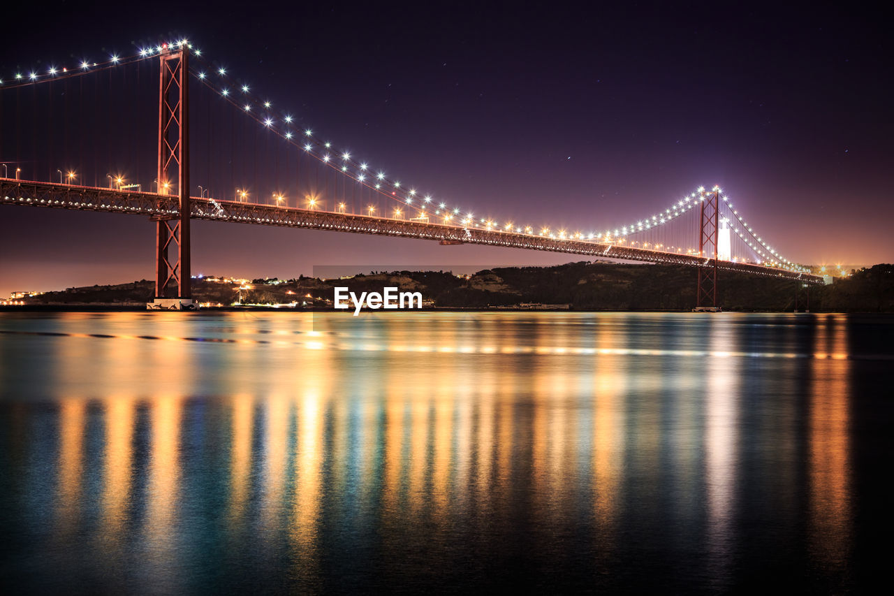 Illuminated Suspension Bridge Over River At Night