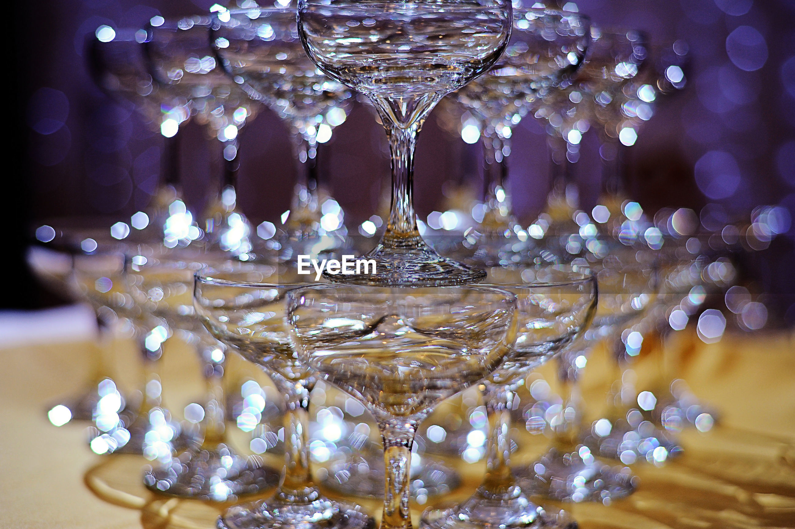 Close-up champagne pyramid