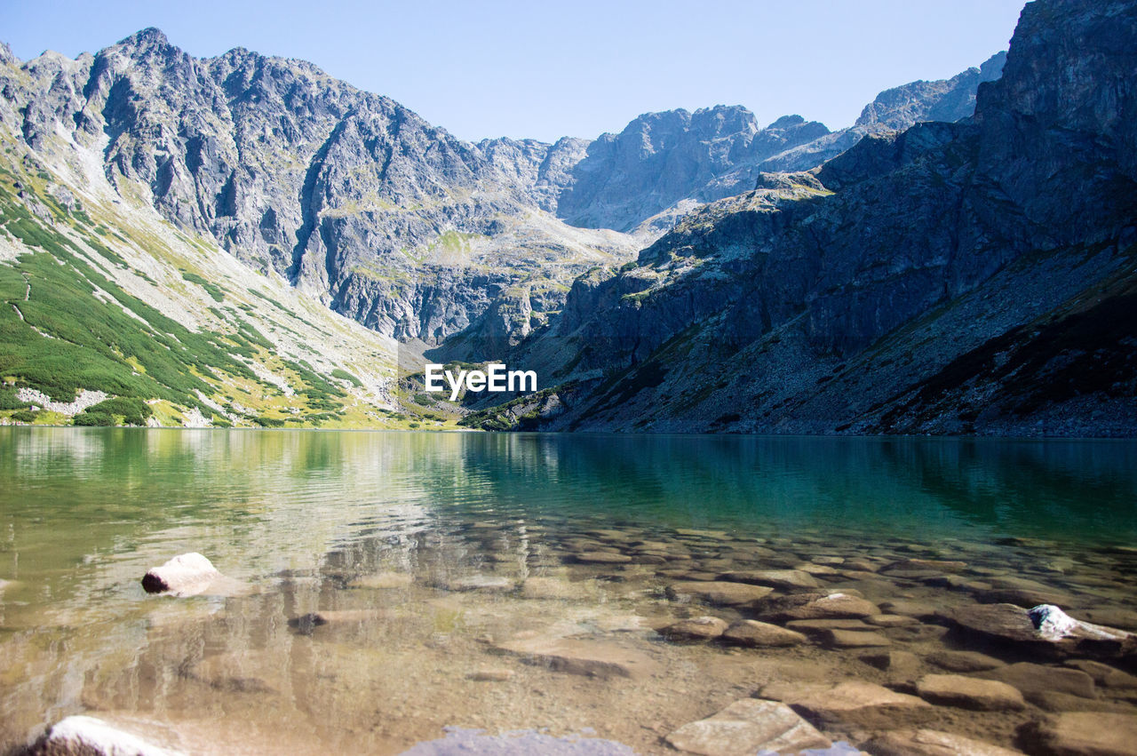 mountain, lake, scenics, nature, tranquil scene, water, beauty in nature, tranquility, day, mountain range, outdoors, no people, reflection, cold temperature, snow, animal themes, tree, sky, iceberg
