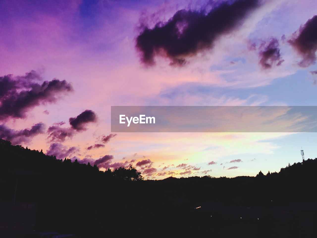 sky, cloud - sky, sunset, silhouette, beauty in nature, scenics - nature, tranquility, tranquil scene, nature, no people, tree, dramatic sky, environment, outdoors, landscape, idyllic, orange color, low angle view, dusk, non-urban scene, purple, romantic sky