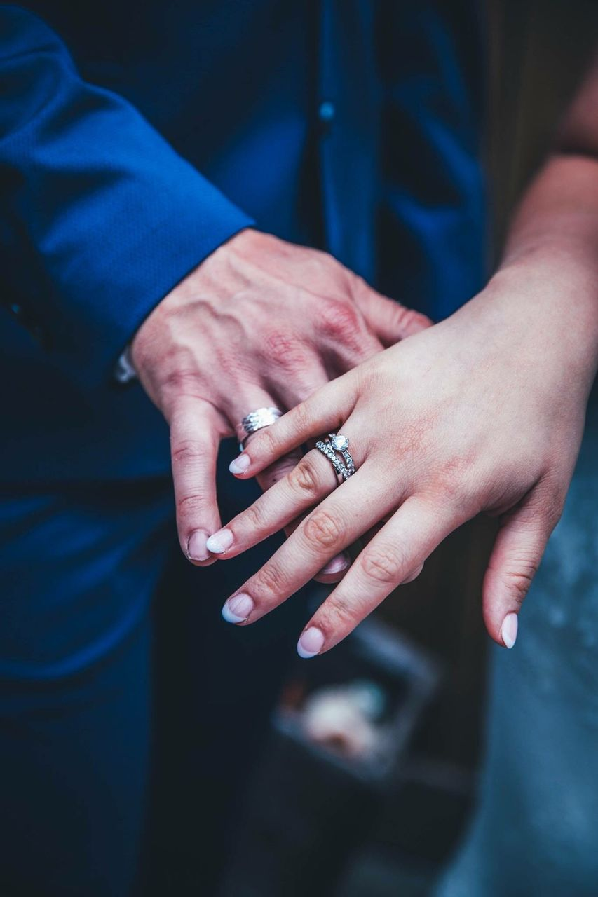 Midsection Of Wedding Couple Wearing Rings