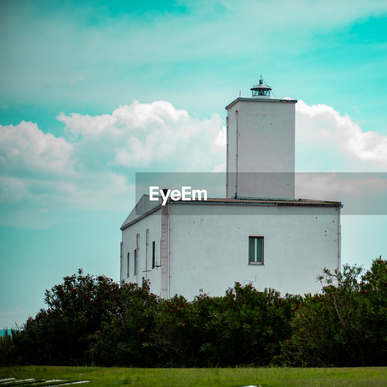 built structure, architecture, sky, cloud - sky, building exterior, plant, building, nature, no people, day, tower, tree, lighthouse, guidance, outdoors, security, grass, protection, safety, direction