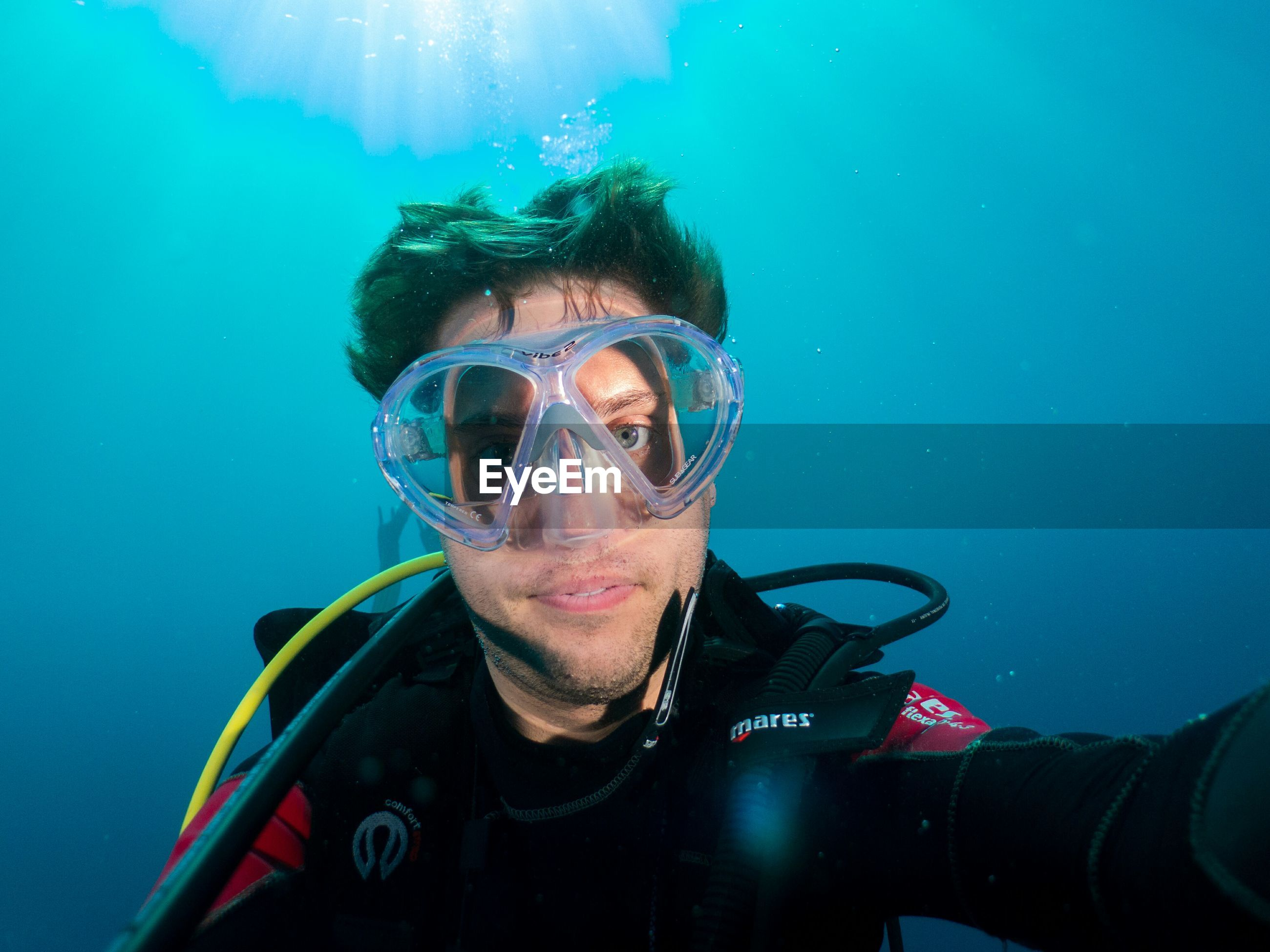 Portrait of young man in underwater