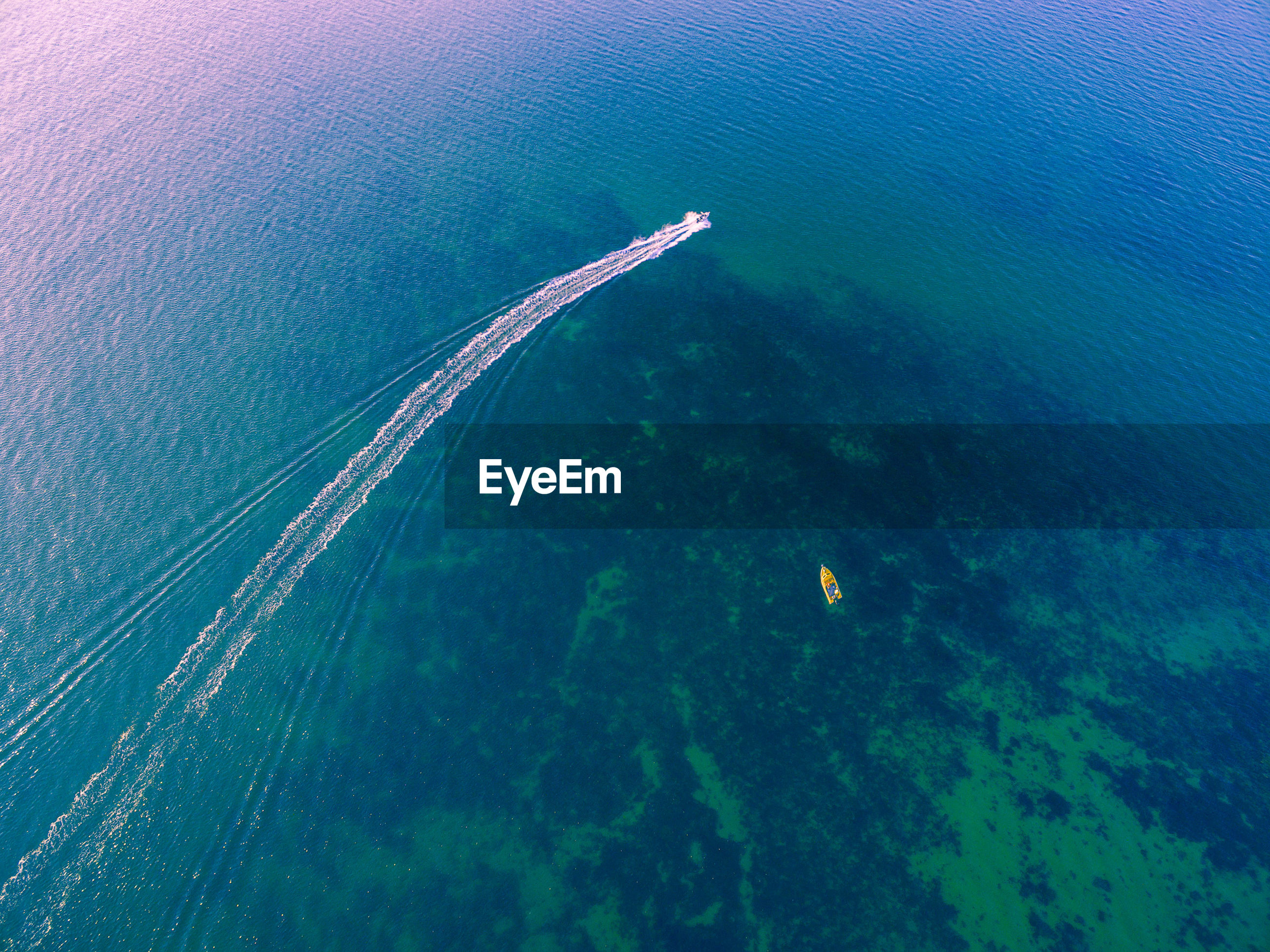 Aerial view of boat in sea