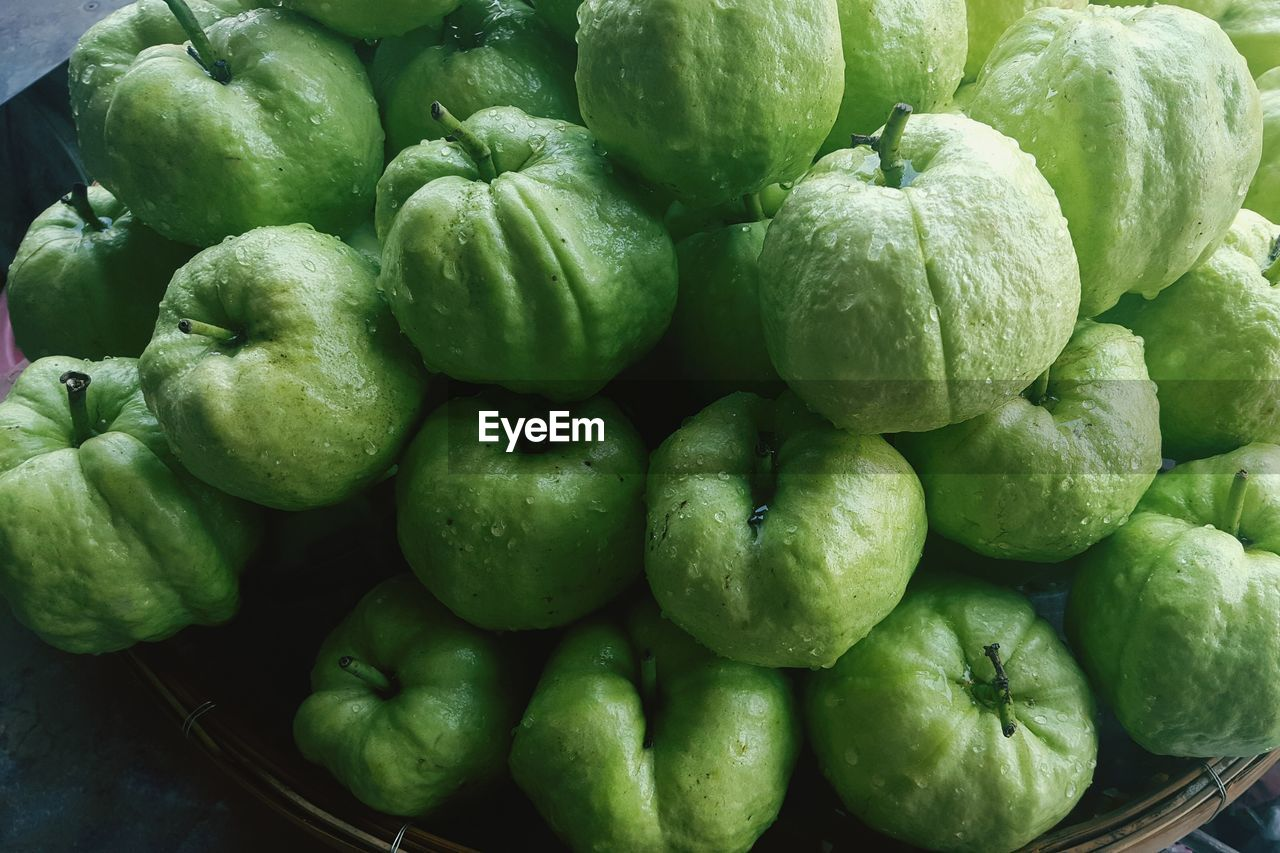 Full frame shot of green fruits