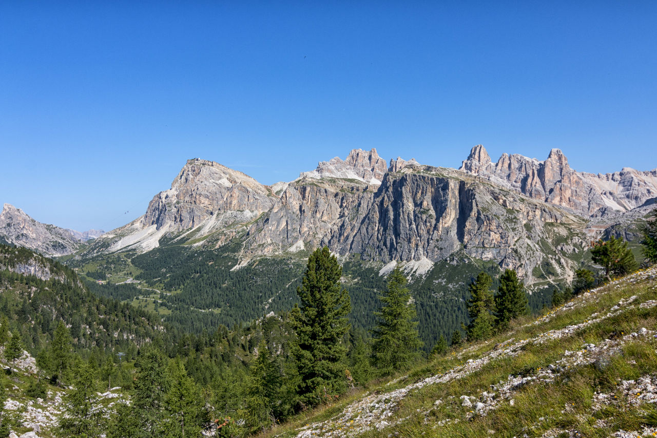 mountain, nature, scenics, beauty in nature, blue, mountain range, day, tree, clear sky, no people, landscape, forest, outdoors, sky