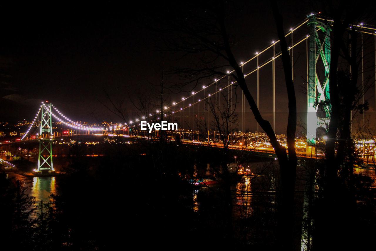 night, illuminated, built structure, architecture, bridge - man made structure, connection, outdoors, sky, suspension bridge, no people, city, building exterior