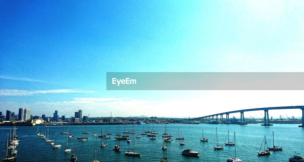 water, sky, transportation, built structure, architecture, nautical vessel, bridge, city, nature, building exterior, bridge - man made structure, mode of transportation, day, connection, no people, copy space, waterfront, sea, blue, outdoors, cityscape, office building exterior, skyscraper, bay, sailboat