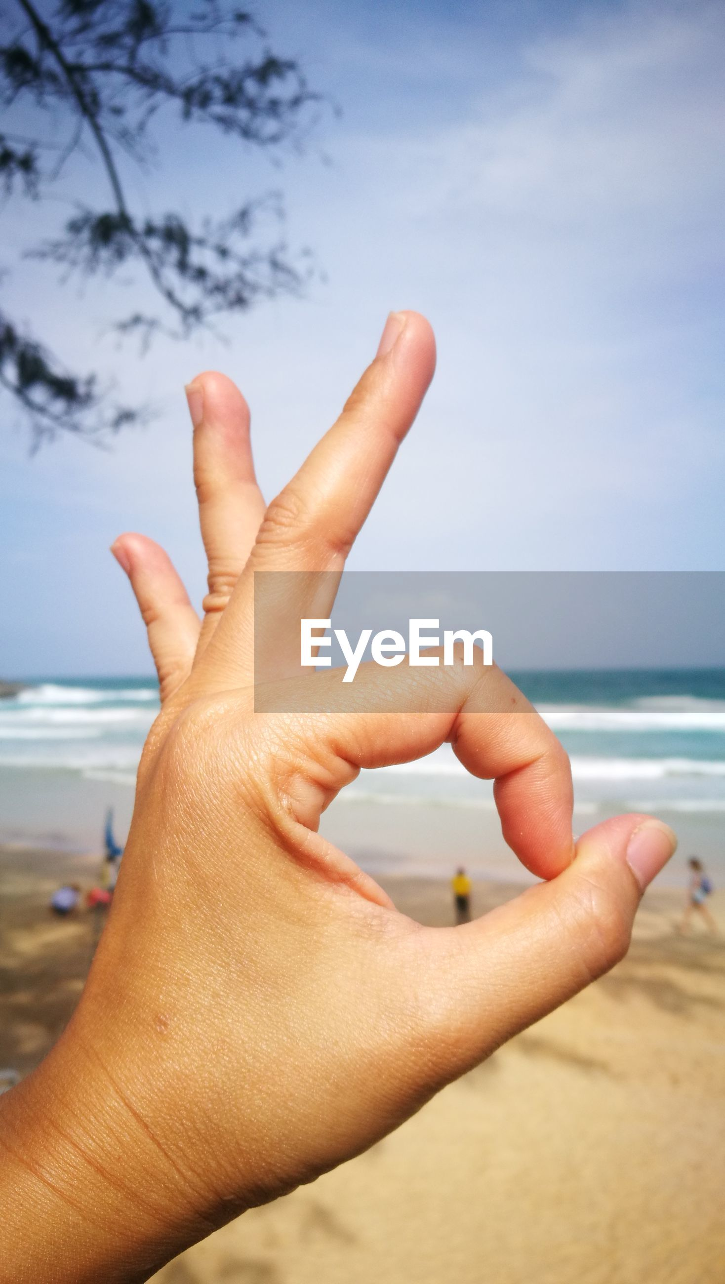 Cropped hand of person gesturing ok sign against beach