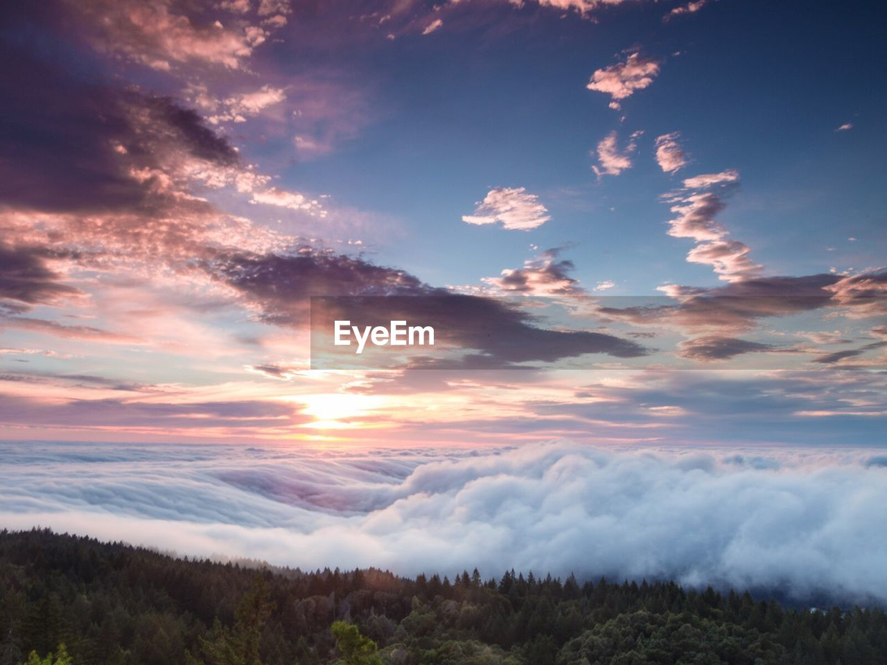 Scenic view of cloudscape at mt tamalpais against sky during sunrise