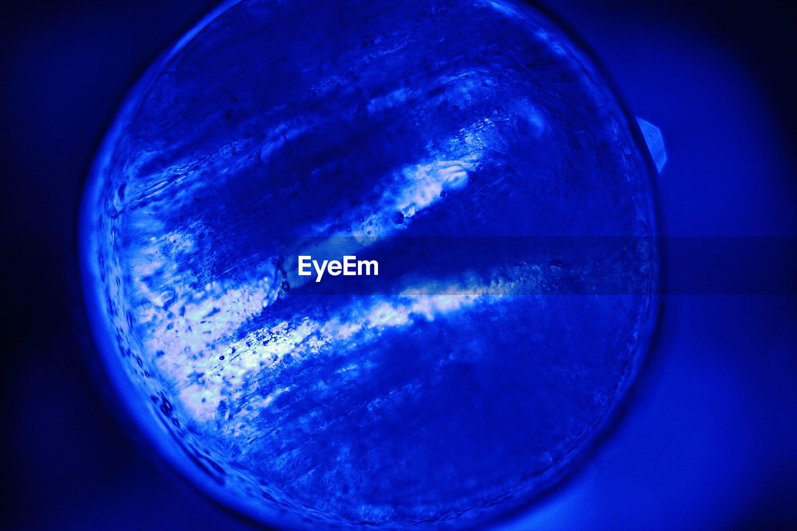 Close-up of blue glass
