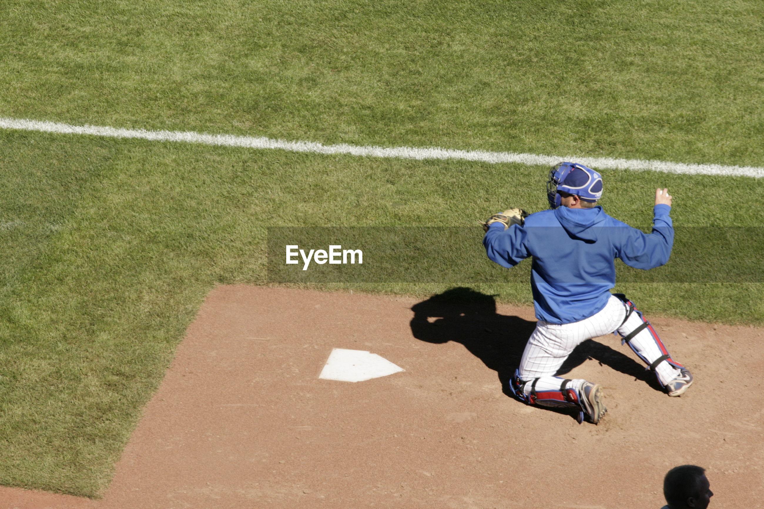 High angle view of baseball player