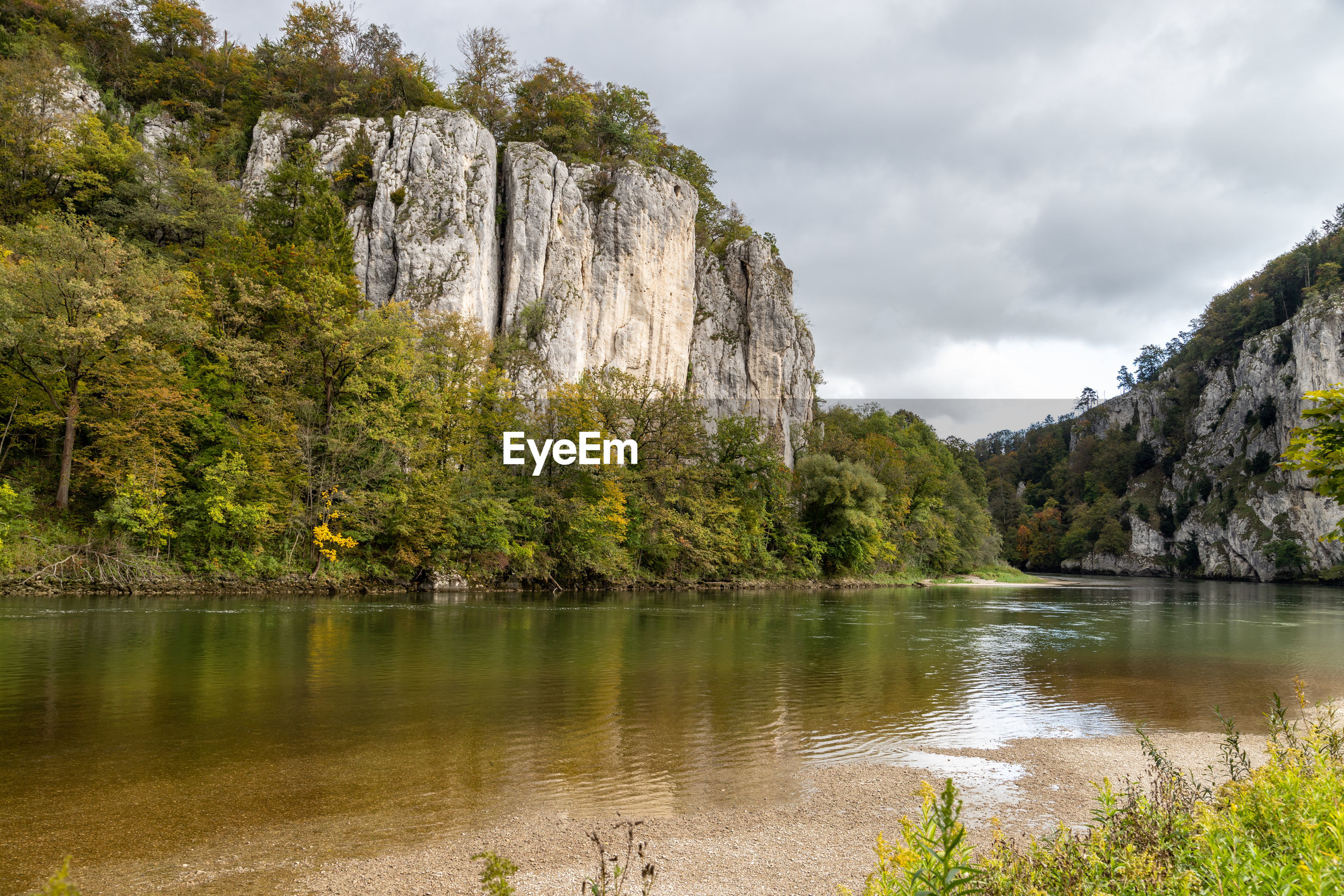 Nature reserve at danube river breakthrough nearby kelheim with limestone rock formations
