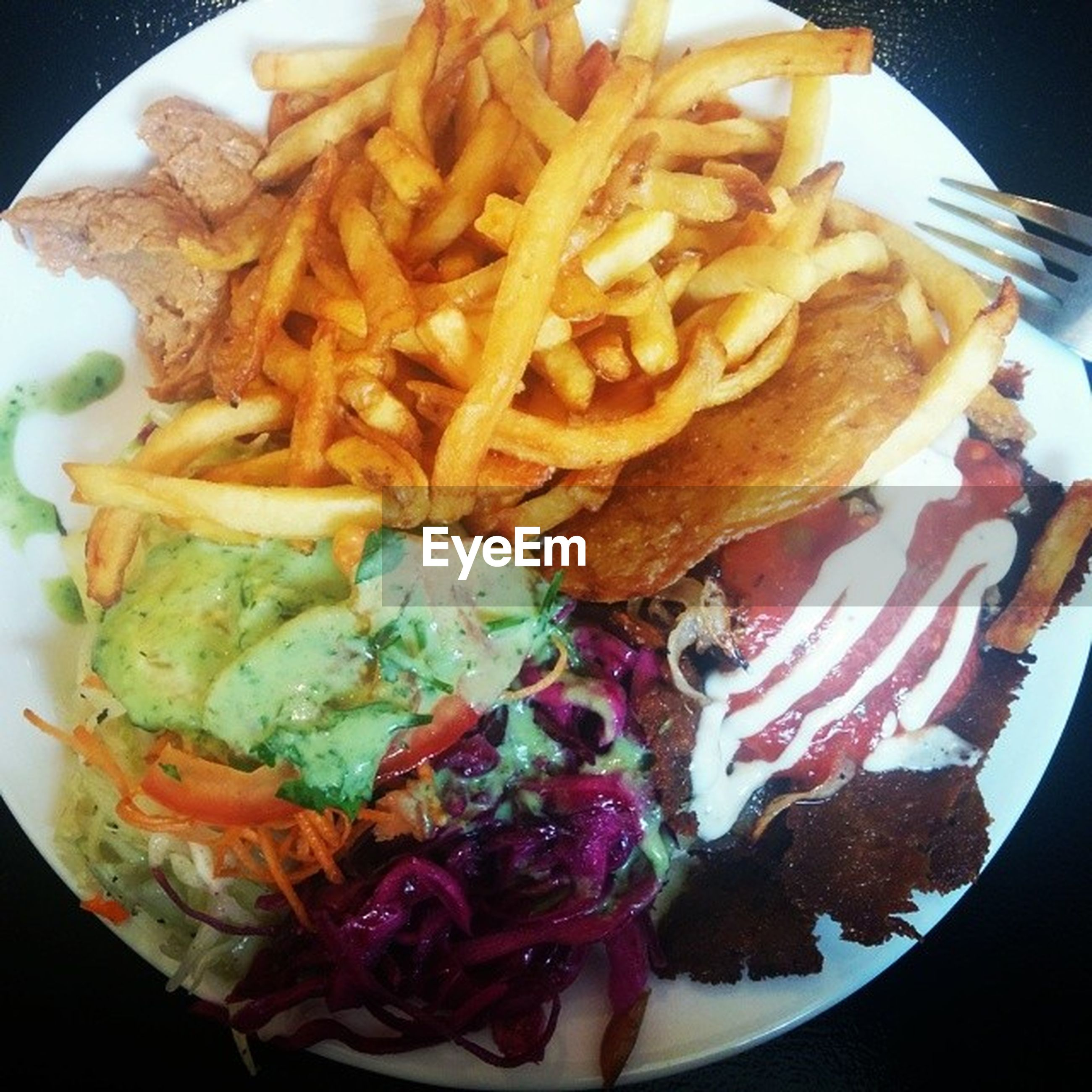 food, food and drink, freshness, ready-to-eat, indoors, plate, still life, close-up, serving size, meat, meal, indulgence, unhealthy eating, french fries, high angle view, fried, cooked, fast food, prepared potato